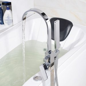 Soporte de suelo para el baño Bañera de agua MIxer Faucet Latón Cromo plateado Cascada Bañera de hidromasaje Faucet Conjunto de ducha cuadrado de alta calidad Tap