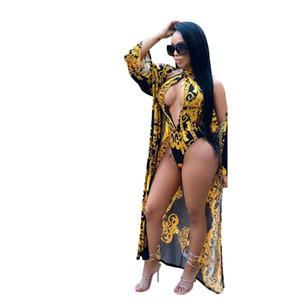 Yaz 2019 Kadın Moda Baskılı Tulum Pelerin + Seksi Tulum Bodysuits Lace Up Brezilya Plaj Bikini Tulumlar