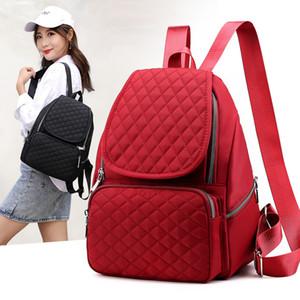 Tempo Donna Nylon solido Student colori Zaino Leisure Travel entrambe le spalle pacchetto