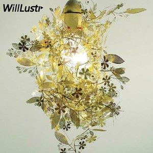 Tord Garland Artecnica الذهب الحديثة أبيض أسود زهرة كروم جارلاند الثريا diy العشب مصباح ضوء تصميم الفولاذ المقاوم للصدأ قلادة بوو uljj