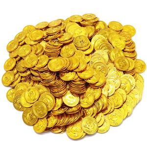 100шт / серия Пират Золотых монет Play Money Game Игрушка Хэллоуин партия реквизит Монета Пиратского корабль украшение