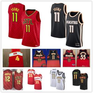 Los hombres baratos de Atlanta Hawks jersey Trae 11 12 De'Andre joven DeAndre Hunter Dominique Wilkins 21 55 02 Mutombo camisetas de baloncesto
