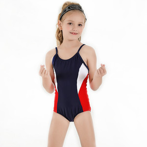 Girls Swimsuit 3-9 Years One Piece Customizable Logo Solid Patchwork Kids Competition Swimwear Swimming Wear Beach Wear 2020