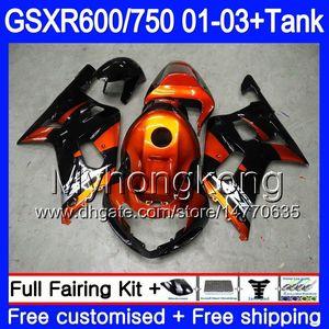 + Depósito para SUZUKI GSX-R750 GSXR 750 600 K1 GSXR600 01 02 03 294HM.0 GSX R600 R750 GSXR-600 GSXR750 2001 2002 2003 Carenados Gloss Orange negro