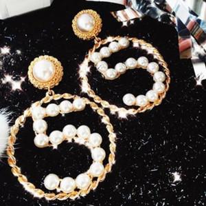 Luxury Number 5 Dangle Drop Earrings Hollow Large Circle Earring 14k Gold Ear Studs Women Girl Wedding Party Jewelry Gift2020