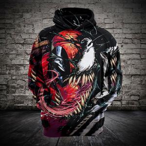 Men Hoodies Dead Venom 스파이더 맨 3D 후드 티 스웨터 루스 롱 슬리브 캐주얼 스웨터 28 색 S-4XL