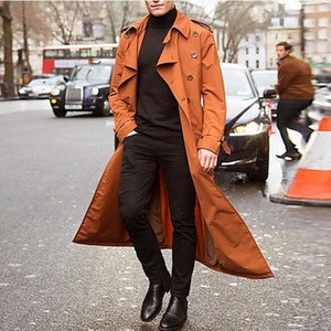 Mens Overcoat Weinlese-lange Trenchcoats New Jacket Coats Male Business Black beiläufige lange feste Windbreaker Mantel Herbst Outwear