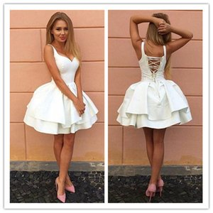 White Short Homecoming Dresses 2020 Fashion Spaghettis Straps cocktail Dresses A Line Mini Party Gowns vestido curto Custom Made