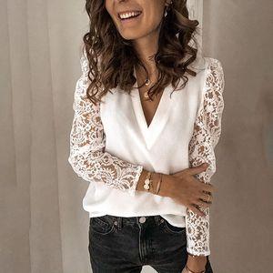 Lace Panelled Womens Designer Tshirts Fashion Slim V Neck Long Sleeve Ladies Tees Casual Females Clothing