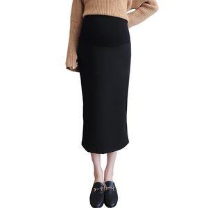 2019 Spring enceinte Midi Jupe grossesse fendue dans le dos noir taille haute ventre Soutien Hip Paquet Jupes Vêtements de maternité Mode