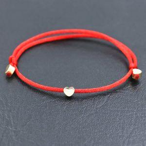 Minimalist Style Copper Love Heart Shape Charm Bracelet Red Rope Thread String Bracelets For Men Women Jewelry Couple Bracelet