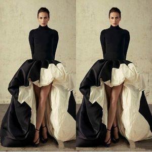 2020 Nova Africano Alta Baixa mangas compridas Vestidos gola alta preta e Prom Marfim vestidos Ruffles tafetá formal do partido vestidos de baile