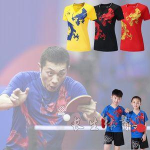Li Ning World Table Tennis Championships de secagem rápida ternos respirável Badminton manga curta Wear lapela pescoço T-shorts tênis de mesa