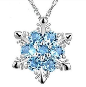 Мода Ювелирные Изделия Синий Кристалл Снежинки Ожерелья замороженные Цветок 925 Серебряные Ожерелье Подвески с Цепочкой