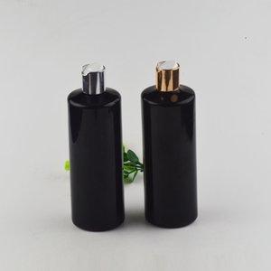 500ml preta vazia xampu garrafa de plástico com tampa de topo de ouro ou disco de prata 17 oz garrafa PET óleo essencial para embalagem duche cosméticos