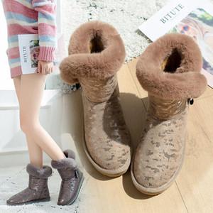 2021 botas de neve feminino tubo curto bonito preguiçoso um pedal inverno botas de algodão no tubo martin botas líquidas vermelhas com o parágrafo
