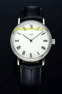 Лучшие Калатравы Мужские часы Extra Thin швейцарские часы Swiss 9015 Автоматическая 28800 полуколебаний Sapphire водонепроницаемый нержавеющей стали 316L кожаный ремешок