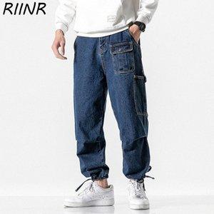 Riinr Frühling 2020 neue Ankunfts-Multi-Tasche Drawstring beiläufige Jeans M-5XL zfS5 #