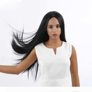 fashion hairstyle brazilian Hair African Americ full wig Simulation Human Hair straight wig middle part for lady