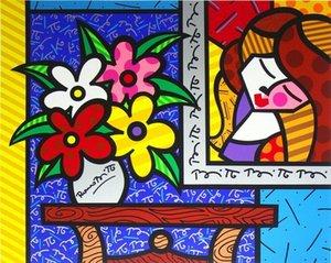 Pittura Romero Britto Art Living Room Decor Artigianato olio su tela di canapa di arte della parete della tela di canapa Immagini 200603