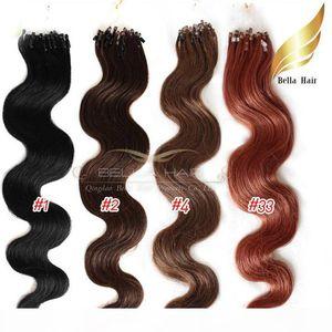 "Loop Micro Ring Hair Extensions Indian Virgin Human Hair Weft #1,#2,#4,#33,1g strand, 100g set 20"" Body Wave Bellahair"