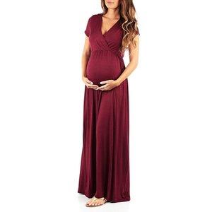 Yaz Hamile Kadın Hemşirelik Hamilelik Elbise Katı Annelik Uzun Elbise elbise femme enceinte ete # g30US