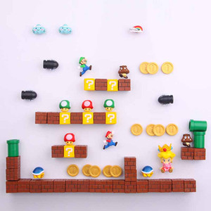 Regalo de cumpleaños Juguetes 63pcs 3D Super Mario Bros. Frigorífico Imanes engomada del mensaje Luigi Niña Niño Niños Niños Estudiante