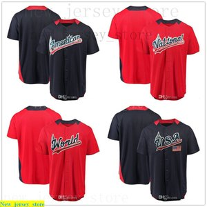2018 All-Star American League Navy National League Stitched Red Game Home Run Derby Team Jersey USA World Futures Baseball Jersey