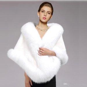 2018 Yeni Kış Düğün Ceket Gelin Yumuşak Faux Kürk Sarar Sıcak şallar Giyim Siyah Gary Bordo Beyaz Kırmızı Kadın Ceket Balo Akşam