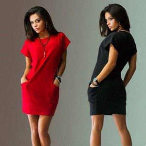 Tasarımcı Elbise dizayn edilmiş elbiseler T Yaz Gömlek Elbise Seksi Katı Kısa Kollu BODYCON Cep İnce Moda Elbise Designer Giyim Womens