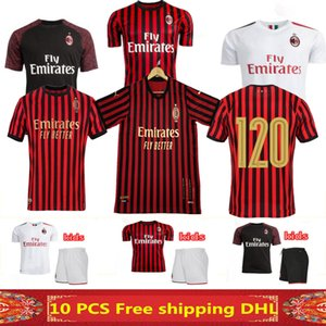 New AC Milan jerseys Kits 120º Aniversário de futebol 19 20 Piatek Romagnol Paquetá camisas do futebol 2019 2020 Maillots Crianças SUSO Bonaventura