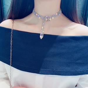 Hot Designer Shiny Voll Strass Halsreifen Luxus Geometrische Gold Silber Überzogene Kurze Halsketten Modeschmuck Geschenke Party Nachtclub