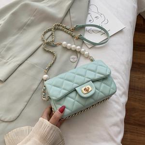 Spalla bag femminile 2020 di estate dell'unità di elaborazione donne di alta qualità in pelle perla borsa Pearl catena della spalla Messenger Bag Borse Q-657