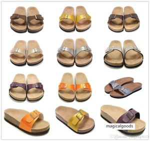 New famous brand Arizona men's   women's slippers sandals buckle summer beach top quality leather