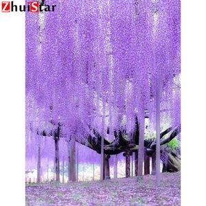Llena de pintura bricolaje 5D diamante flores púrpuras Cross Square puntada diamante diamantes de imitación de patrones de bordado mosaico del diamante xy1