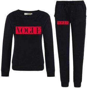 Automne Hiver Costume « S femmes Vogue Lettre 0 -Neck Toison Gardez des vêtements chauds Sweat + pantalon long Ensemble 2 pièces Taille S-5XL