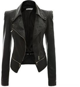 Faux Leather Jackets Women Biker Motor Zipper Fly Punk Lower Women's Outerwear & Coats Women's Clothing Edge Detachable Casual Ladies PU Lea