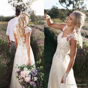 A Line Bohemian Beach Wedding Dresses 2020 Elegant Cap Sleeves Illusion Bodices Lace Appliques Bridal Gowns