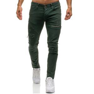 Mens Ripped Stretch Black Jeans Modedesigner Slim Fit Washed Motocycle Denim Pants Getäfelte Hip Hop-Reißverschluss-Hose