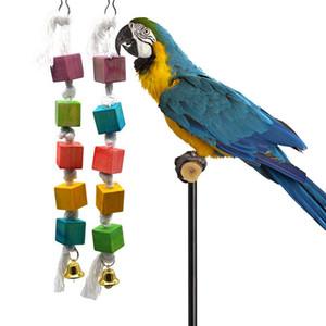 La masticación de juguetes de aves multicolores bloques de madera atraer la atención del animal doméstico del loro de juguete de madera roído cadena mascotas jaula de pájaros Accesorios