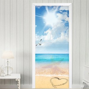 Blue Sky And White Clouds Sea View Door Sticker Living Room Dining Room Self-Adhesive Waterproof Wall Stickers Mural Wallpapers