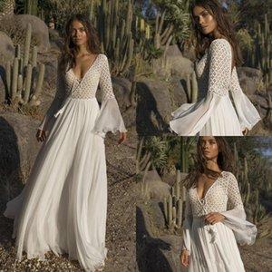 2019 Asaf Dadush Boho abiti da sposa scollo av profondo manica lunga in rilievo di cristallo una linea di lunghezza del pavimento Bohemian Sexy Beach Abiti da sposa