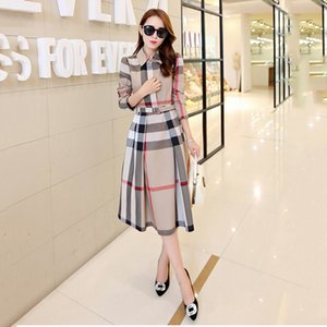 2019 spring and autumn new women's plaid dress long-sleeved A-shaped long autumn Korean version of the slim dress