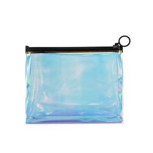 Temizle Zip ile Plastik Tuvalet Çanta Gökkuşağı Plastik Yıkama Torbası Seyahat Tatil Banyo ve Organize Çanta için Carry