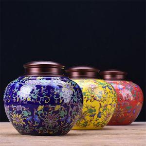 Colorful Ceramic Jar copertura in alluminio del tè Tea Caddy scatola metallica di umidità Bottiglie bagagli Proof Sealed serbatoio Jar Dolciumi Box