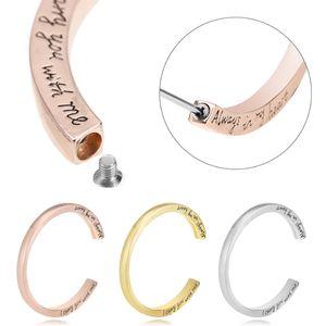 Moda inciso Memorial Urna Bracciale in acciaio Cremazione Urn Jewelry Charm Bracelet Ashes Memorial Keepsake