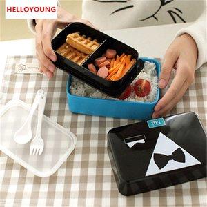 Caixas de Bento Estilo Japonês Lancheira Francesa romântico e adorável Kits de jantar Microondas Recipiente de comida grande caixa de refeição preferida