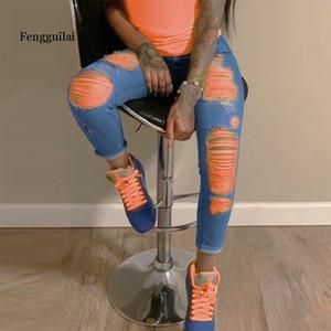 Jean déchiré orange pour femme Denim Pantalon de crayon hautes taille maigre petite amie Jeans déchiré JEGGING de grande taille MOM 2020