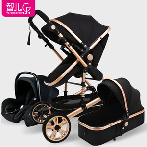 Wisesonle high landscape Baby stroller 3 in1 multi-function can sit reclining light folding newborn Carriage free shipping
