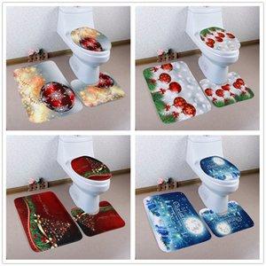 3pcs / set asiento del inodoro de Navidad Alfombras cubierta alfombras de baño antideslizante cuarto de baño fijados Aseo Ducha almohadilla de alfombras Decoración GGA2798